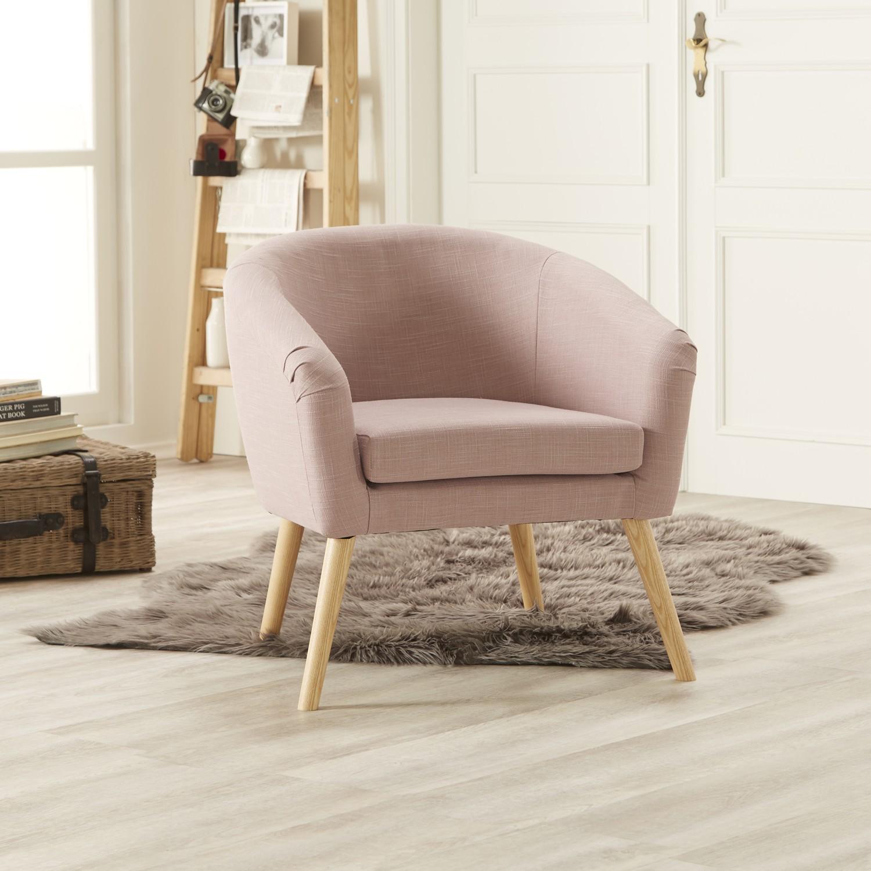 home24 Mørteens Sessel Ida I Mauve Webstoff 73x73x69 cm (BxHxT)
