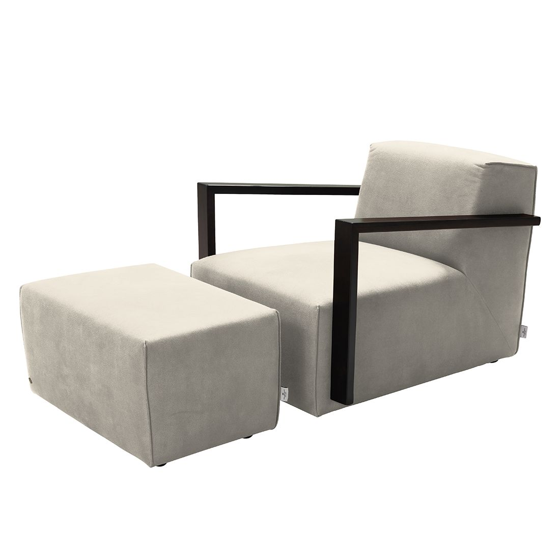goedkoop Fauteuil Lazy antiekleren look Hocker Beige Tom Tailor