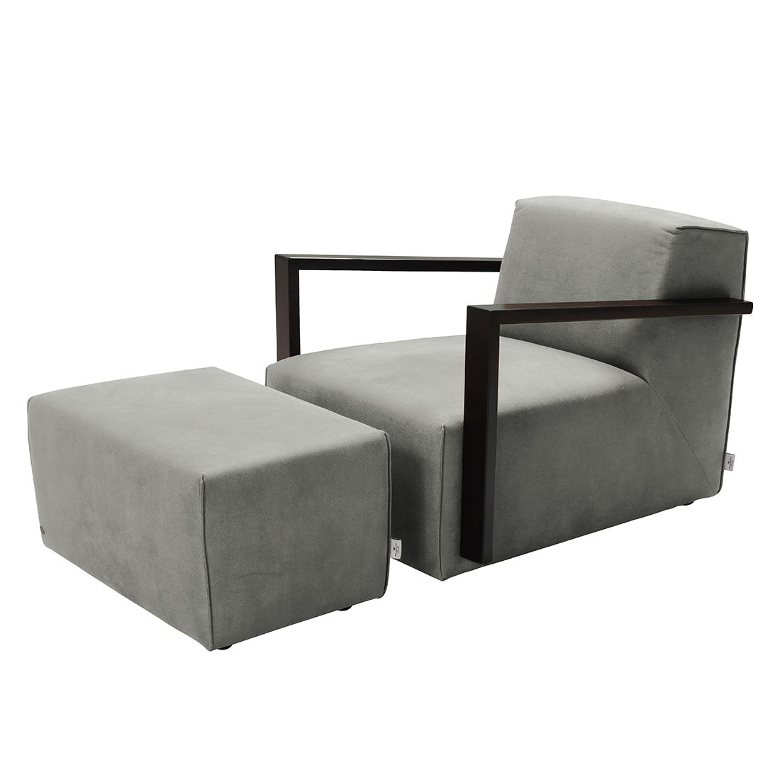 goedkoop Fauteuil Lazy antiekleren look Hocker Grijs Tom Tailor