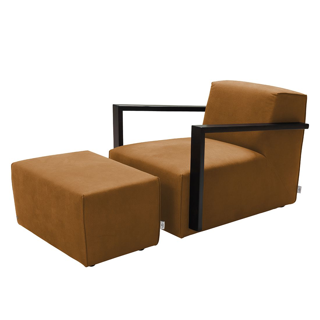 goedkoop Fauteuil Lazy antiekleren look Hocker Lichtbruin Tom Tailor