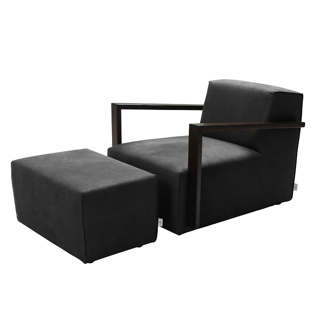 goedkoop Fauteuil Lazy antiekleren look Hocker Zwart Tom Tailor