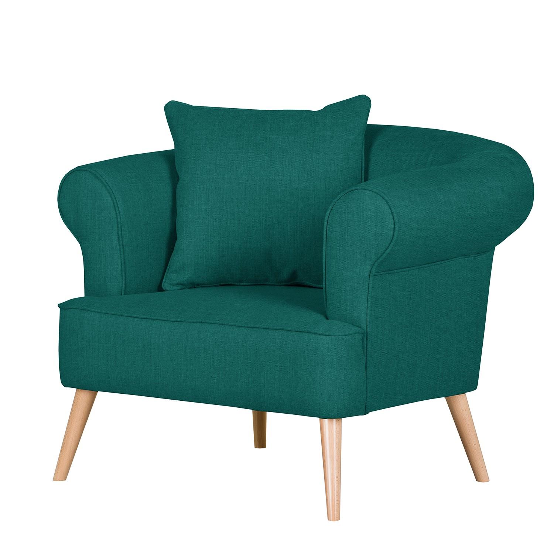 goedkoop Fauteuil Lilou geweven stof Turquoise Green Morteens