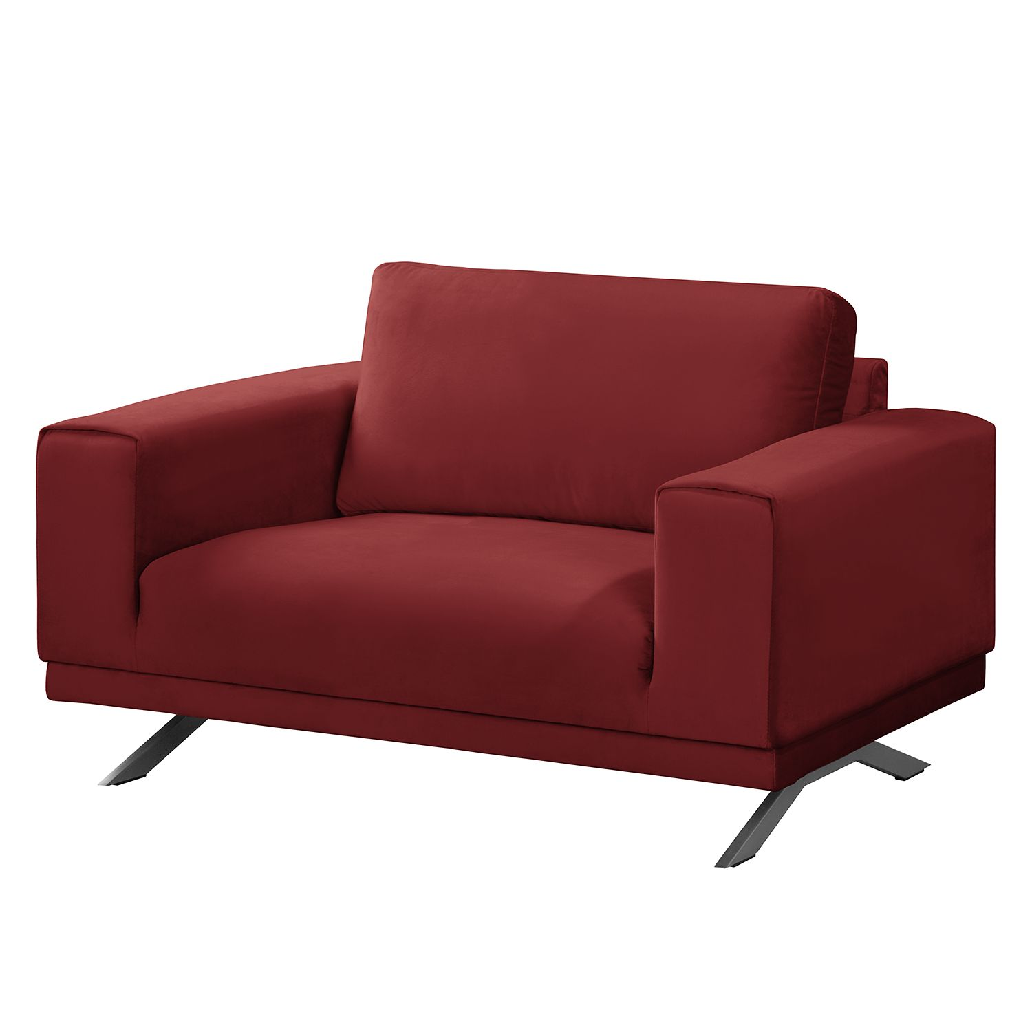 Fauteuil lorcy velours rouge fredriks for Samt sessel rot