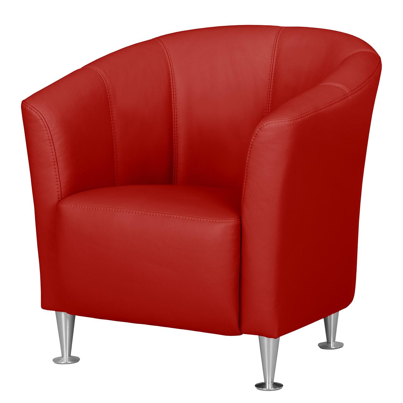 home24 Fredriks Sessel Minga Rot Echtleder 73x72x72 cm (BxHxT)