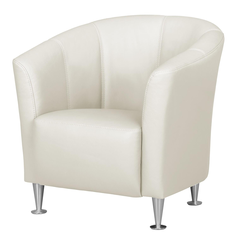 home24 Fredriks Sessel Minga Weiß Echtleder 73x72x72 cm (BxHxT)