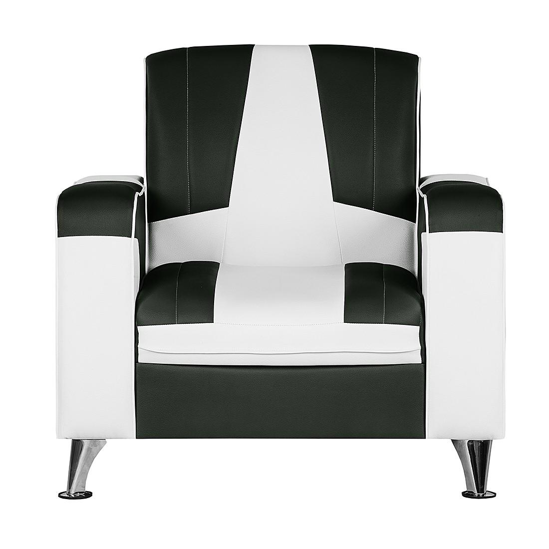 goedkoop Fauteuil Nixa zwart wit kunstleer Studio Monroe