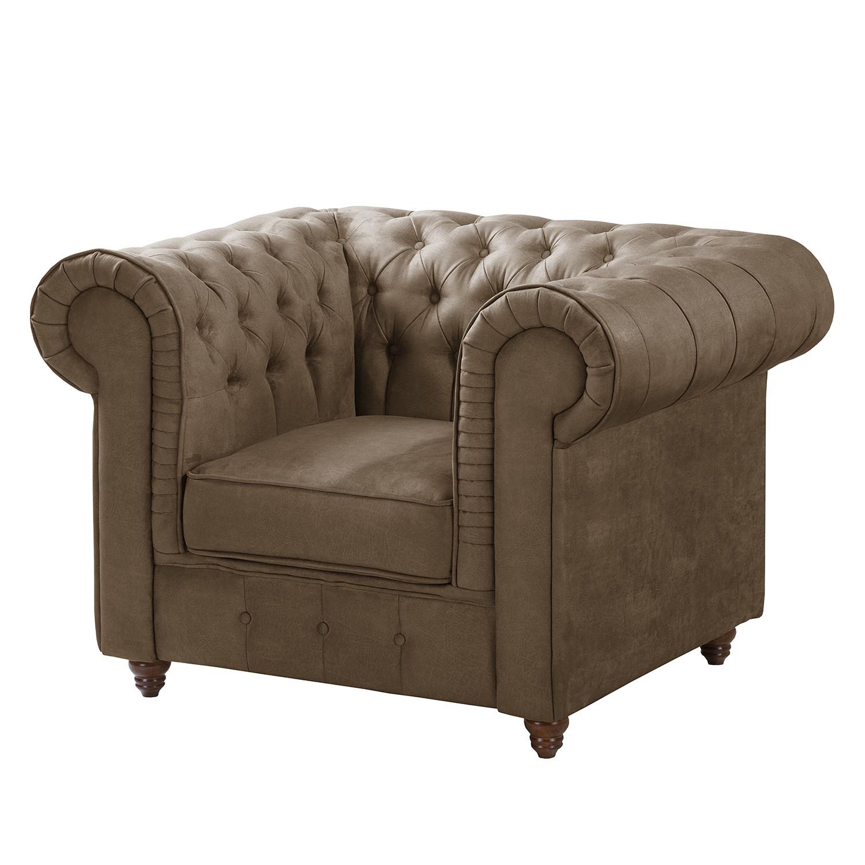 goedkoop Chesterfield fauteuil Pintano antieke leerlook Nootmuskaat Maison Belfort