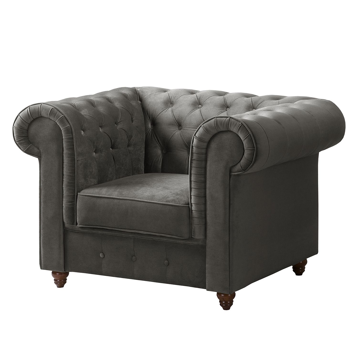 Fauteuil Chesterfield Pintano - Velours - Gris, Maison Belfort