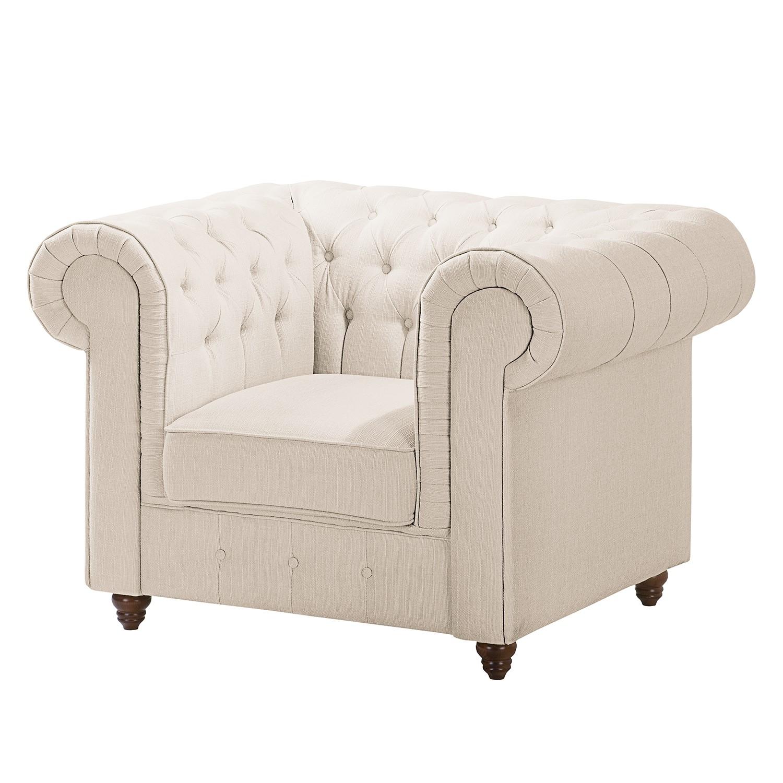 goedkoop Chesterfield fauteuil Pintano geweven stof Beige Maison Belfort
