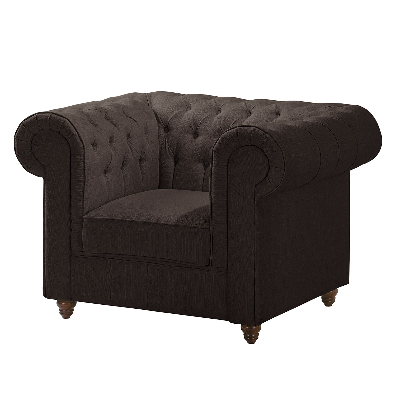 Fauteuil Chesterfield Pintano - Tissu - Expresso, Maison Belfort