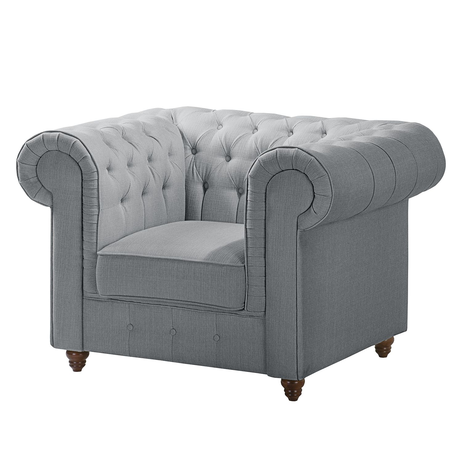 home24 Chesterfield Sessel Pintano | Wohnzimmer > Sessel > Chesterfield Sessel | Grau | Textil | Maison Belfort