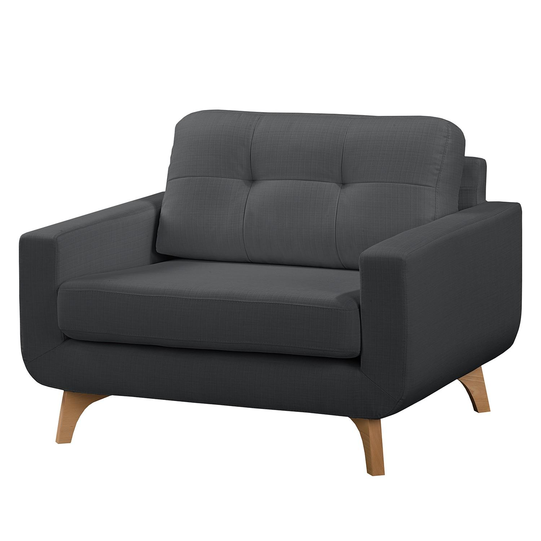 home24 Mørteens Sessel Postville Grau Strukturstoff 118x88x90 cm (BxHxT)
