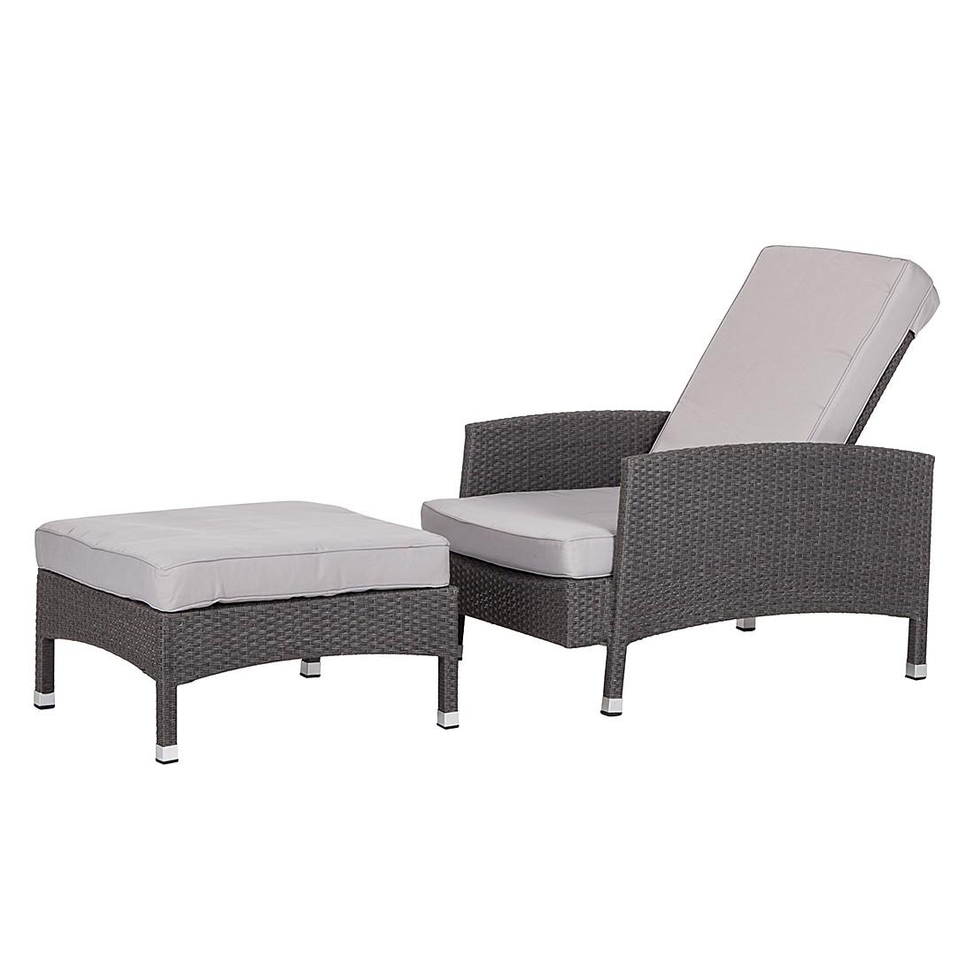 Sessel-Set Paradise Lounge (mit Hocker) - Polyrattan Grau, Fredriks
