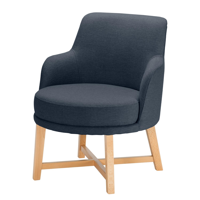 home24 Mørteens Sessel Siabu Dunkelblau Strukturstoff 67x79x68 cm (BxHxT)