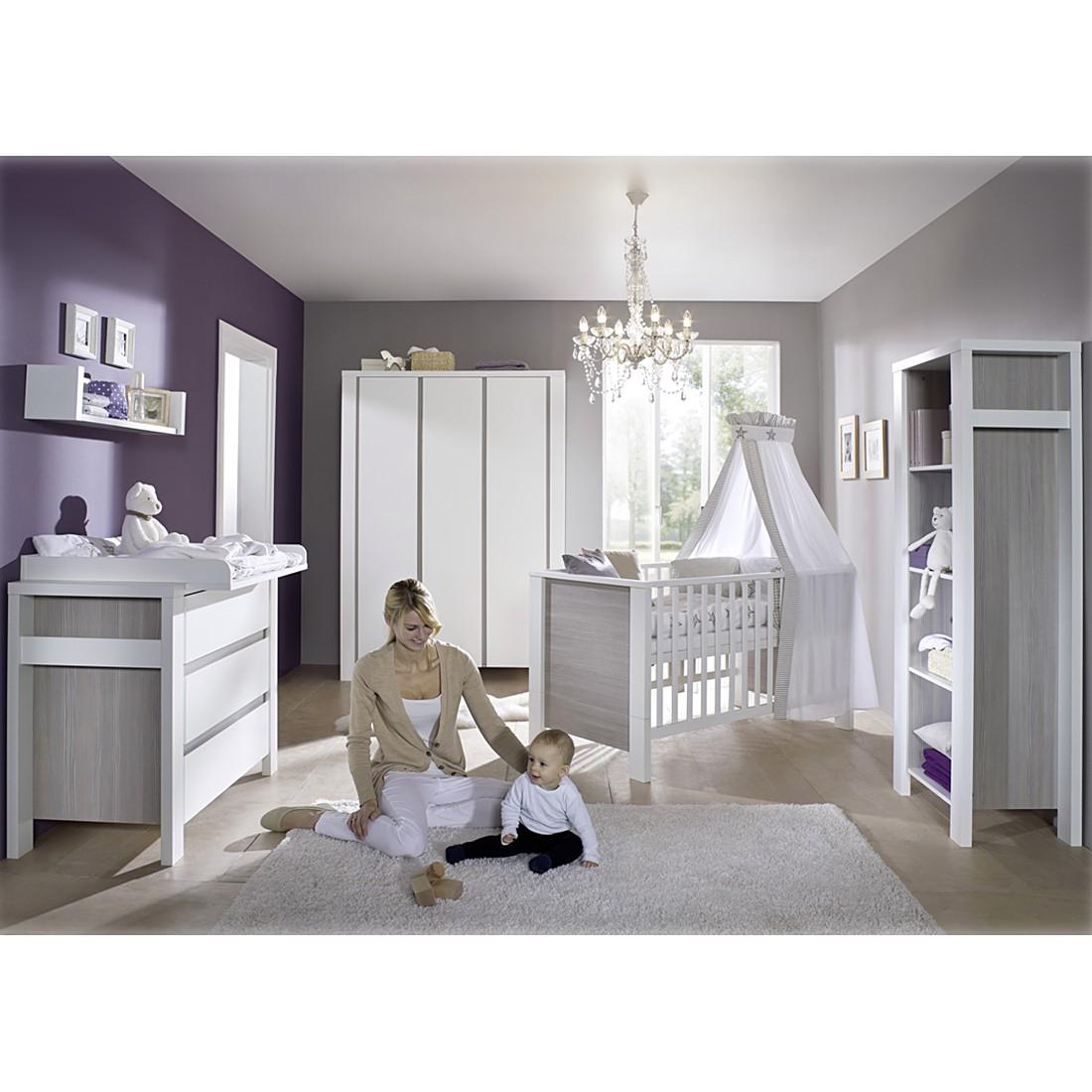 Babyzimmer Milano - Pinie Silber Dekor/Weiß - m...