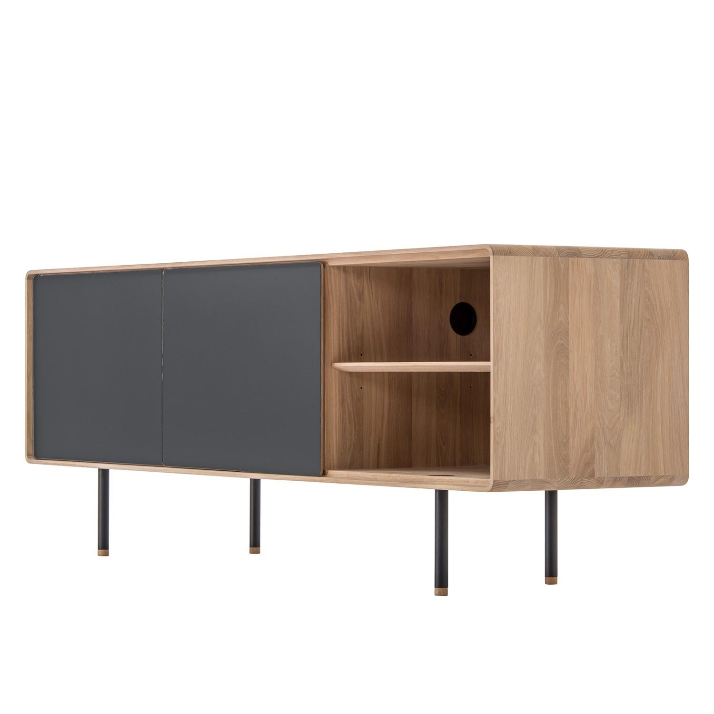 Sideboard Kinna - Eiche massiv / Stahl - Eiche / Anthrazit
