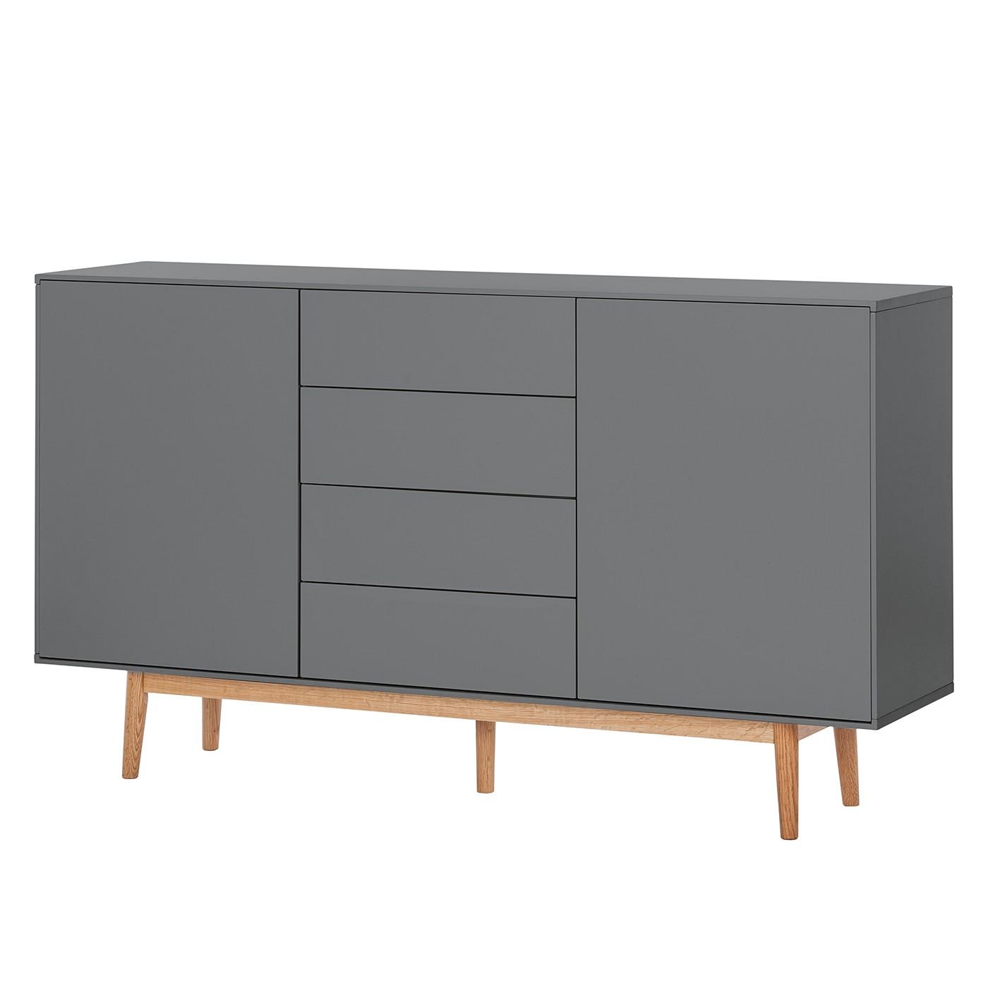 Sideboard lindholm iv eiche teilmassiv grau eiche 90 cm 5189256
