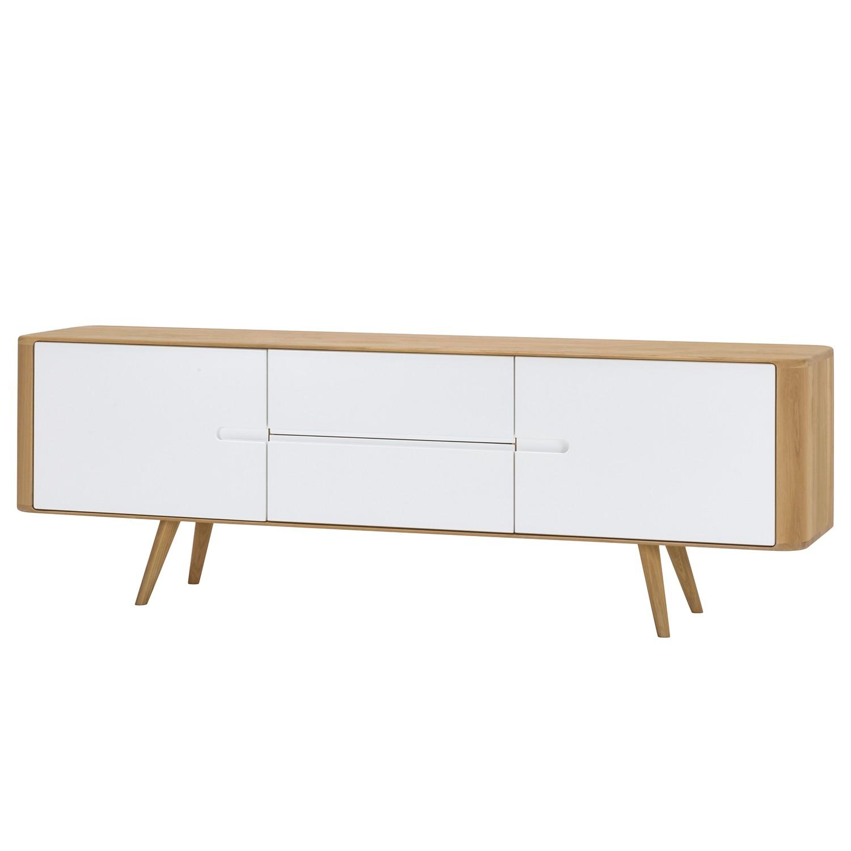 Sideboard Loca I - Wildeiche massiv - Weiß / Wildeiche hell - 180 cm