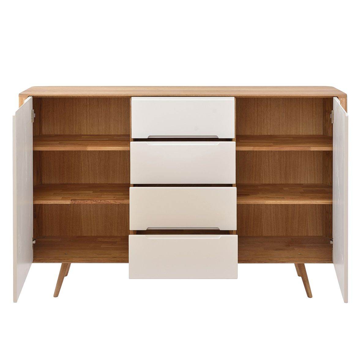 Highboard massiv eiche highboard in furniert massiv eiche for Sideboard loca