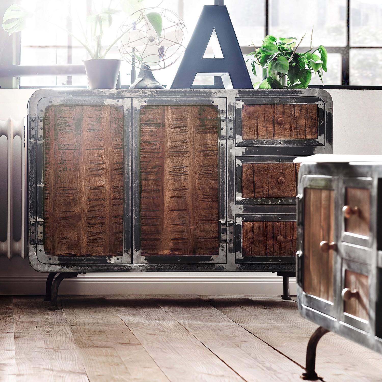 home24 ars manufacti Sideboard Wharton I Braun/Anthrazit Akazie Teilmassiv/Stahl 120x85x40 cm (BxHxT) Industrial 2-türig 3 Schubladen