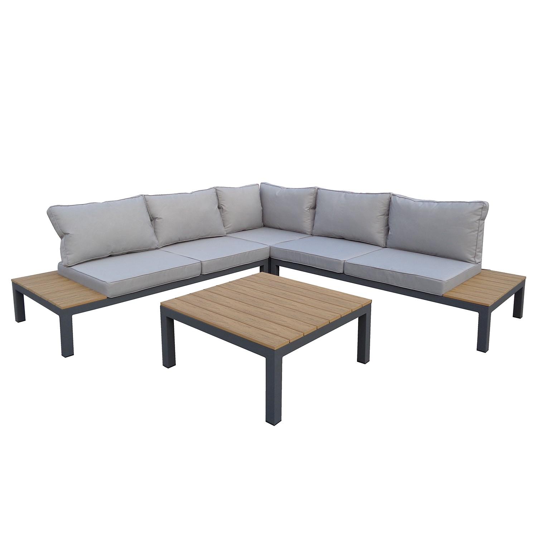 Salon de jardin Quid (4 éléments) - Tissu / Polywood - Gris clair / Imitation chêne, Fredriks