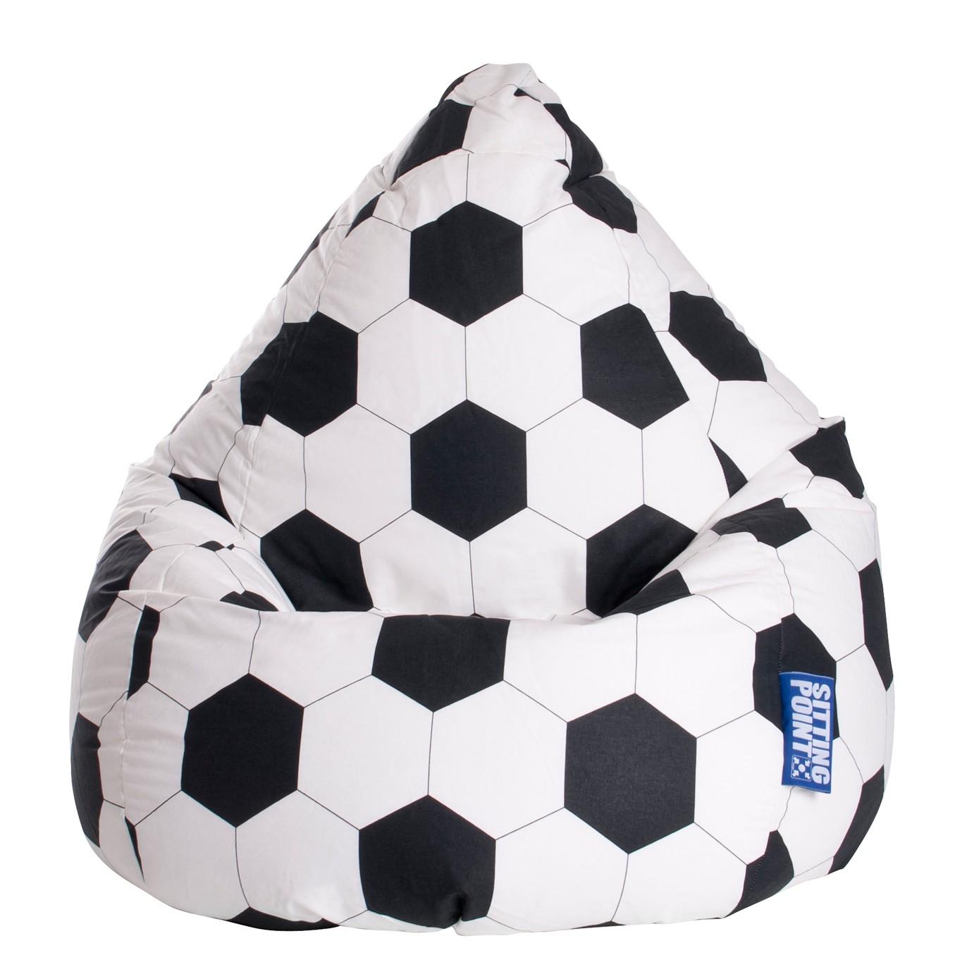 home24 SITTING POINT Sitzsack Bean Bag Fussball WeißSchwarz Baumwollstoff 70x90x70 cm (BxHxT)