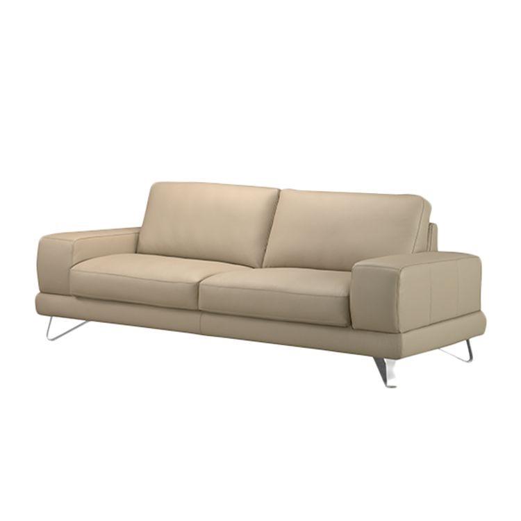 home24 Sofa Bradley (3-Sitzer) Echtleder Beige