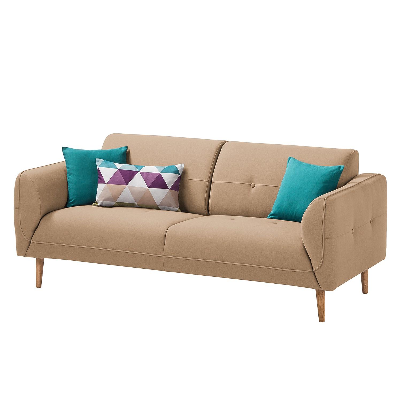 Sofa Cala (2,5-Sitzer) Strukturstoff - Eiche Natur - Stoff Osta Cappuccino