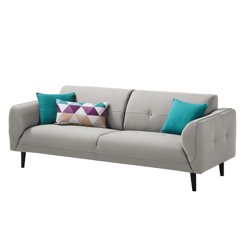 Sofa Cala (3-Sitzer) Webstoff - Schwarz - Stoff Osta Graubraun