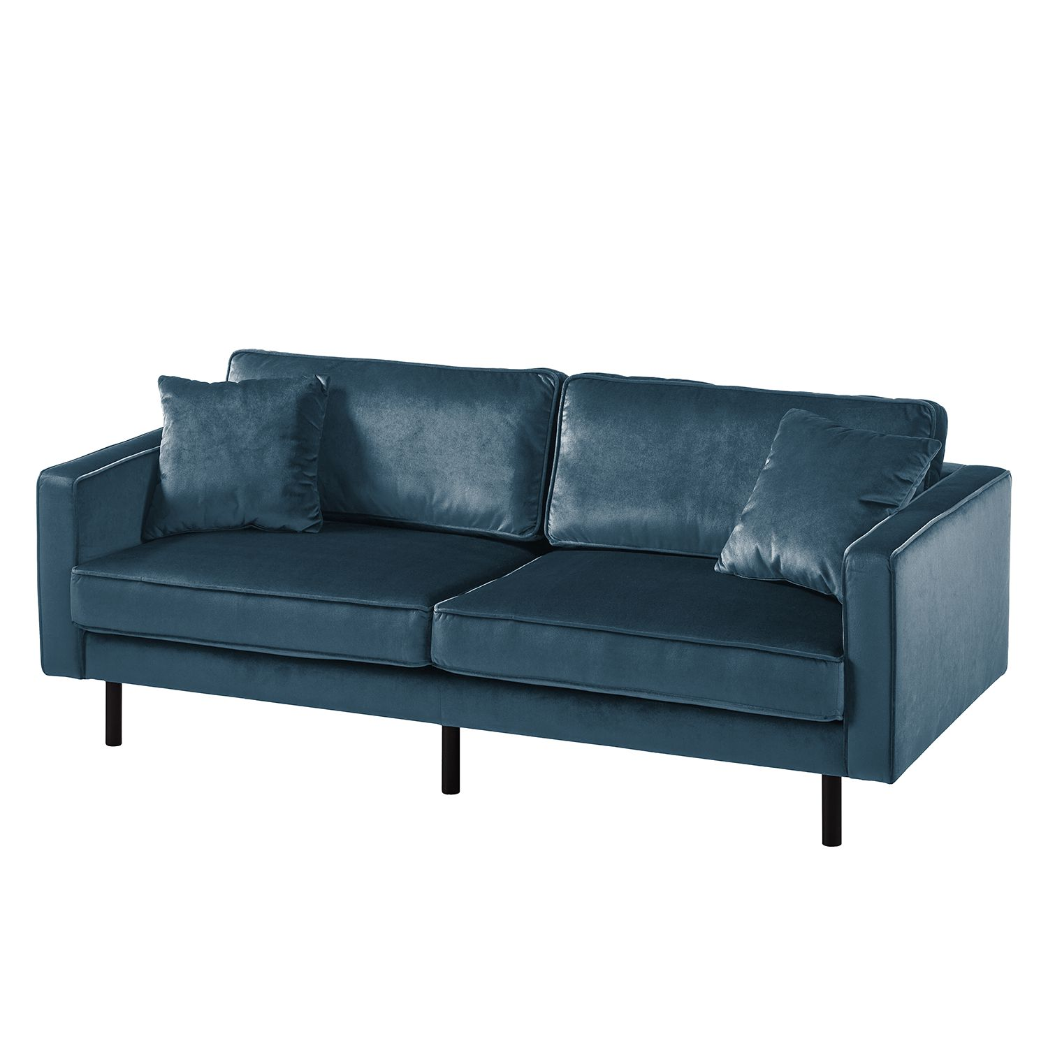 goedkoop Bank Edina 3zitsbank fluweel Donkerblauw Eva Padberg Collection