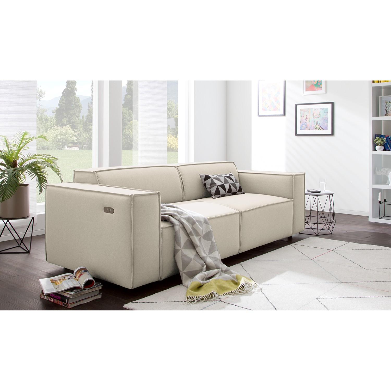 home24 Sofa Kinx 2,5-Sitzer Altweiß Strukturstoff 223x70x96 cm (BxHxT) Modern