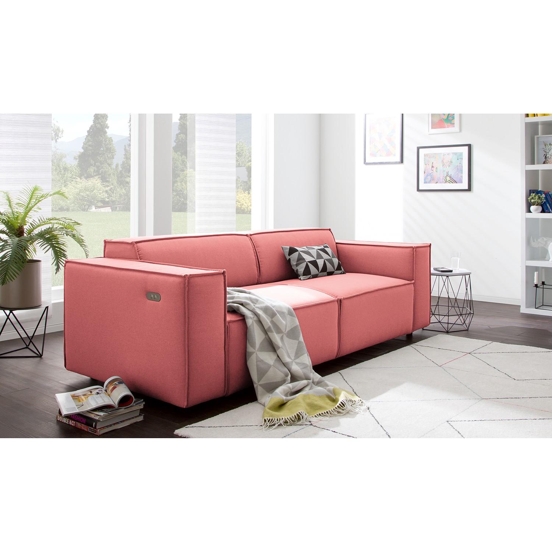 home24 Sofa Kinx 2,5-Sitzer Koralle Strukturstoff 223x70x96 cm (BxHxT) Modern