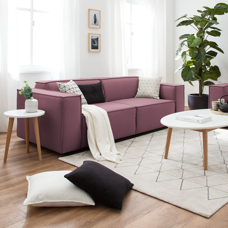 home24 Sofa Kinx 2,5-Sitzer Flieder Strukturstoff 223x72x96 cm (BxHxT) Modern