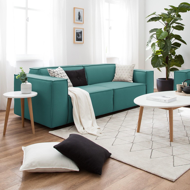 home24 Sofa Kinx 2,5-Sitzer Petrol Strukturstoff 223x72x96 cm (BxHxT) Modern