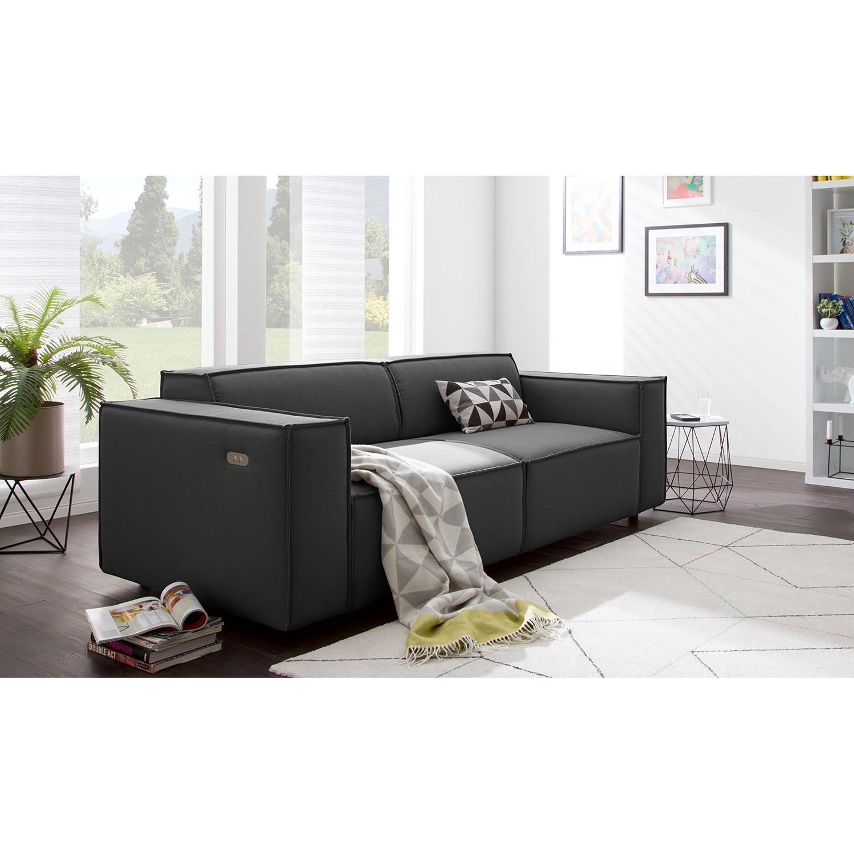 home24 Sofa Kinx 2-Sitzer Anthrazit Strukturstoff 189x70x96 cm (BxHxT) Modern
