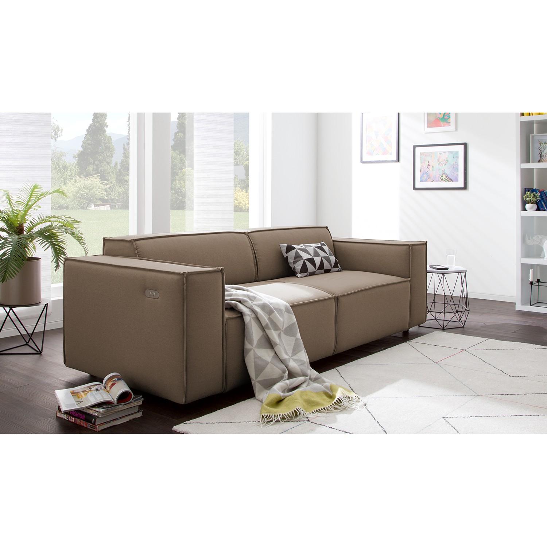 home24 Sofa Kinx 2-Sitzer Cappuccino Strukturstoff 189x70x96 cm (BxHxT) Modern