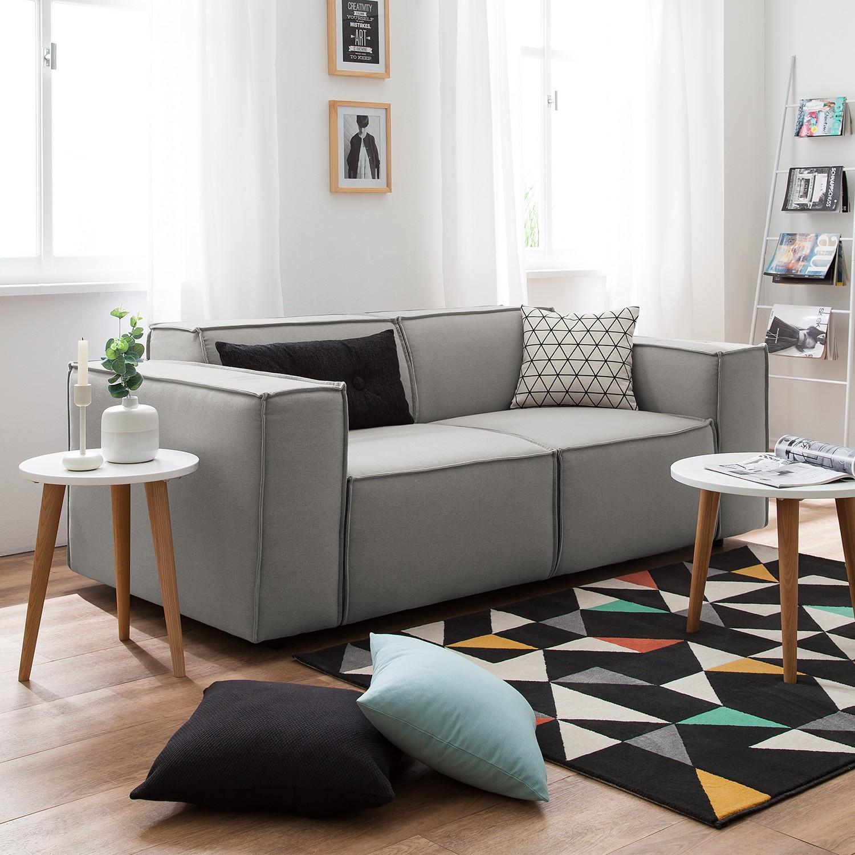 home24 Sofa Kinx 2-Sitzer Graubraun Strukturstoff 189x72x96 cm (BxHxT) Modern