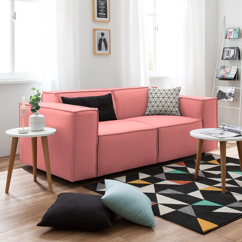 home24 Sofa Kinx 2-Sitzer Koralle Strukturstoff 189x72x96 cm (BxHxT) Modern