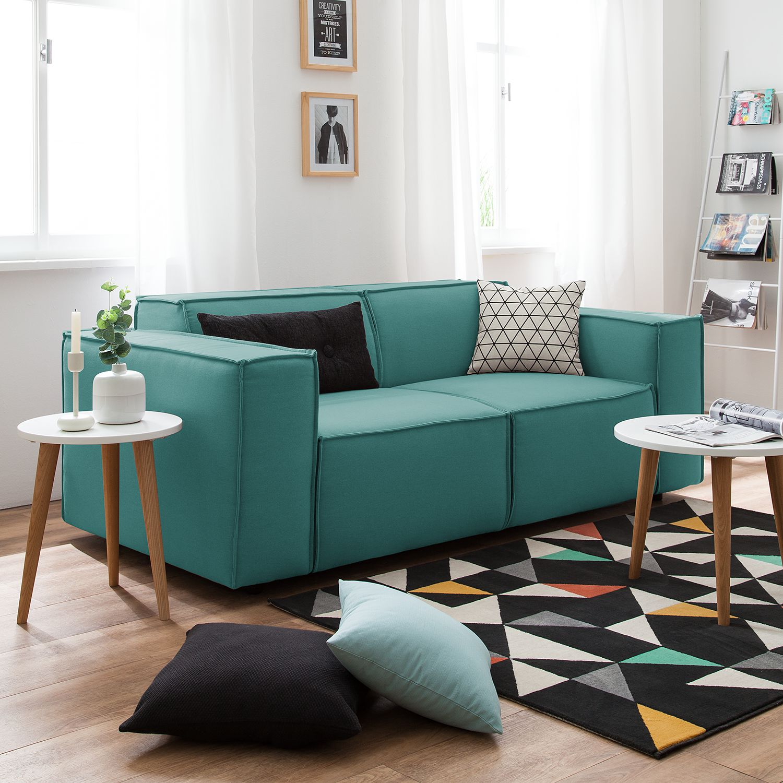 home24 Sofa Kinx 2-Sitzer Petrol Strukturstoff 189x72x96 cm (BxHxT) Modern