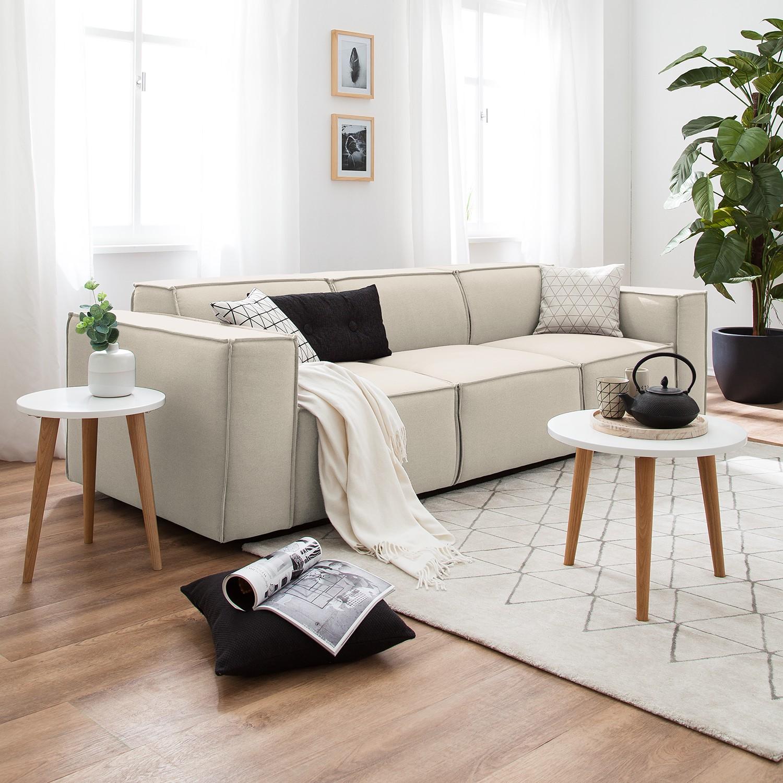 home24 Sofa Kinx 3-Sitzer Altweiß Strukturstoff 260x72x96 cm (BxHxT) Modern