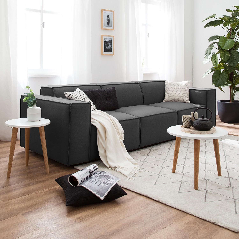 home24 Sofa Kinx 3-Sitzer Anthrazit Strukturstoff 260x72x96 cm (BxHxT) Modern