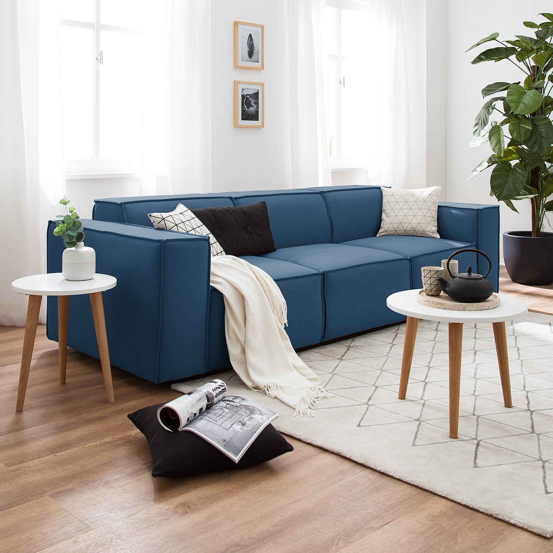 home24 Sofa Kinx 3-Sitzer Dunkelblau Strukturstoff 260x72x96 cm (BxHxT) Modern