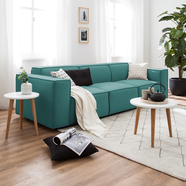 home24 Sofa Kinx 3-Sitzer Petrol Strukturstoff 260x72x96 cm (BxHxT) Modern
