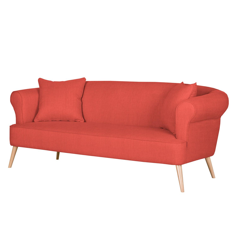 Canapé Lilou (3 places) - Tissu - Rouge, Morteens