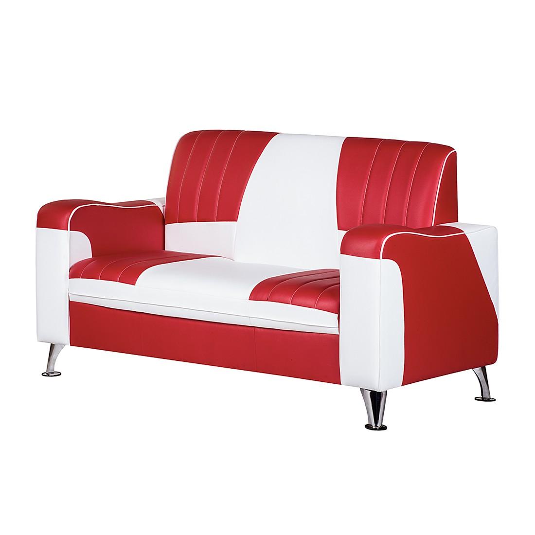 Canapé Nixa (2 places) - Cuir synthétique - Rouge / Blanc, Studio Monroe
