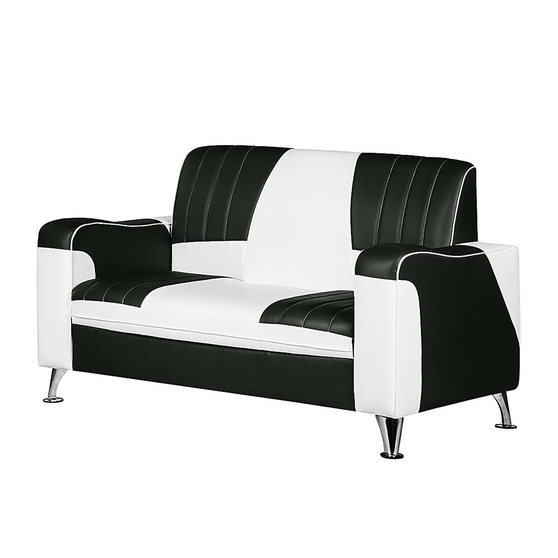 goedkoop Bank Nixa 2zitsbank wit kunstleer zwart Studio Monroe