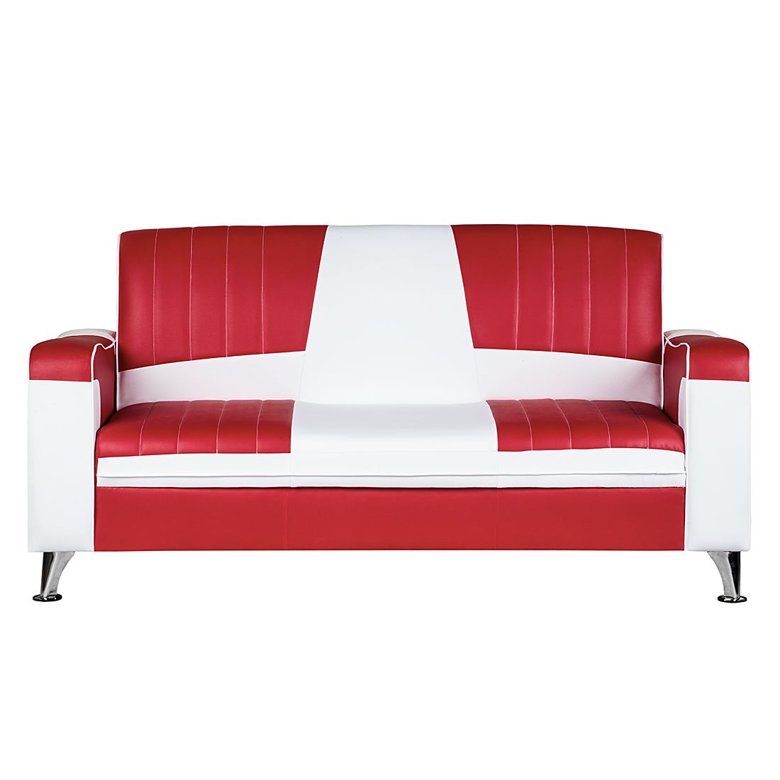 Sofa Nixa 3 Sitzer Kunstleder Rot Weiss Home24