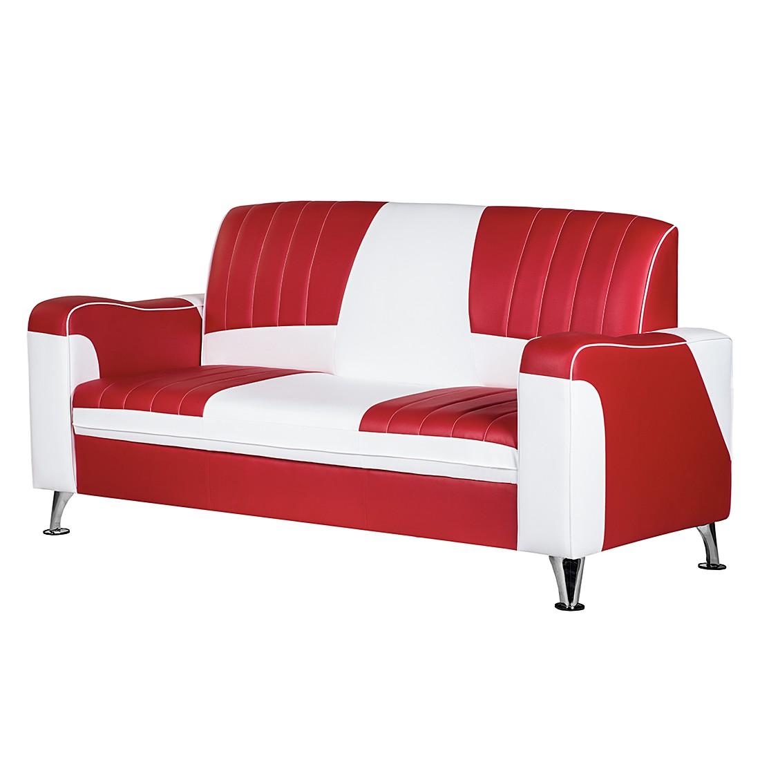 goedkoop Bank Nixa 3zitsbank rood wit kunstleer Studio Monroe