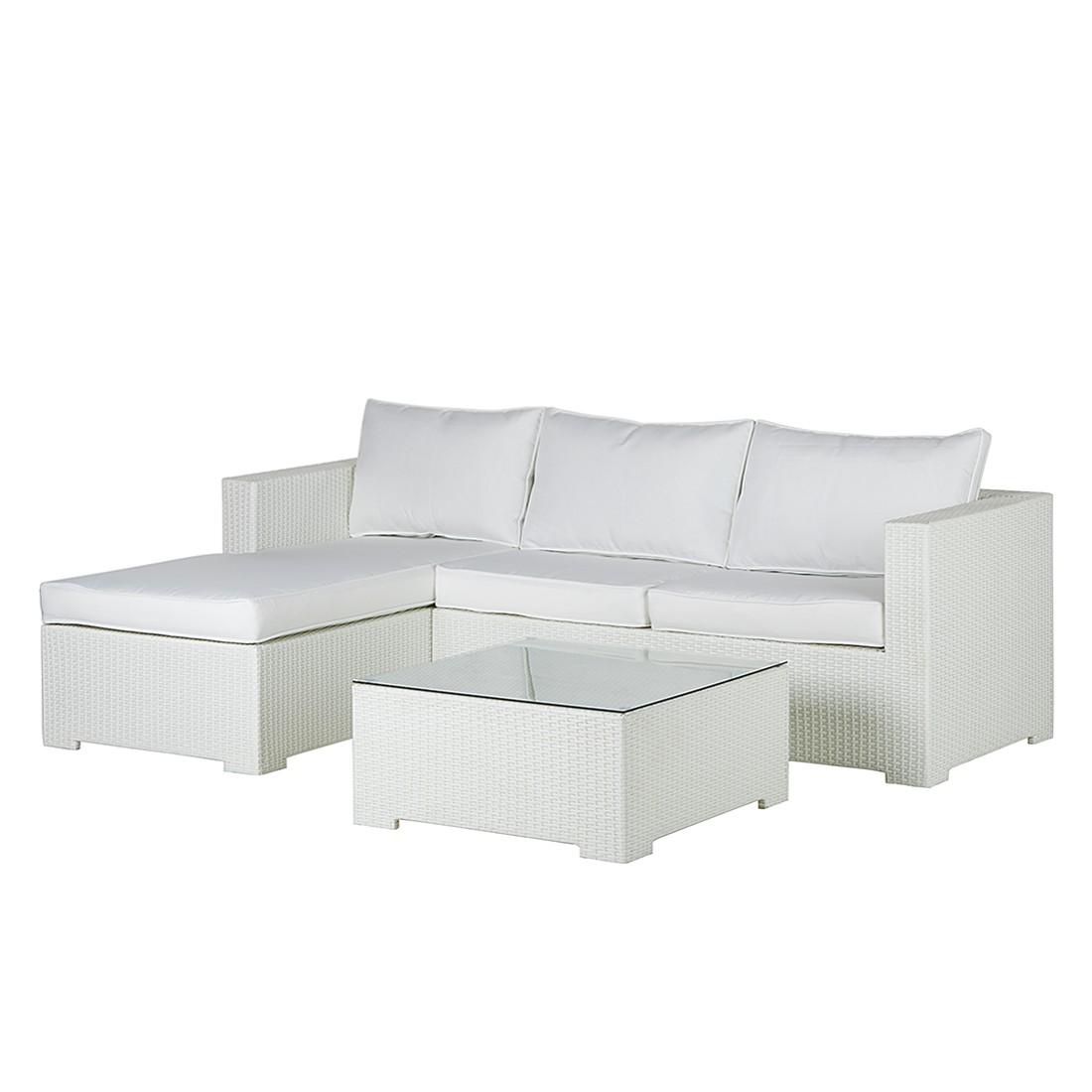 Lounge Sitzgruppe Paradise Lounge (3-teilig) - Polyrattan / Textil - Weiß, Fredriks