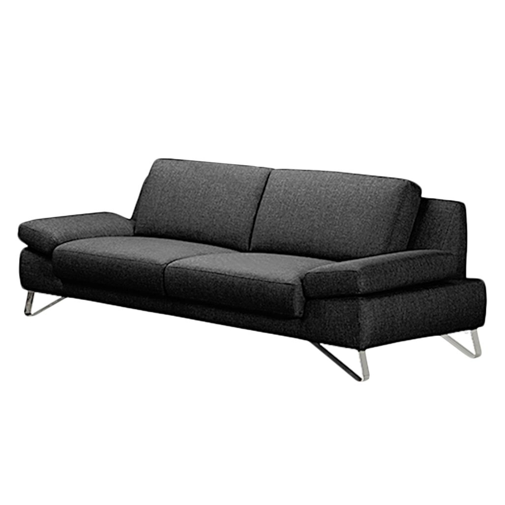 Sofa Silvano (3-Sitzer) Webstoff Schwarz
